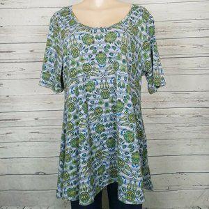 Lularoe Size XL Irma Top Shirt Green Gray Tunic